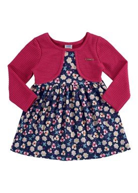 vestido manga longa bebe feminino floral pink marlan 20422