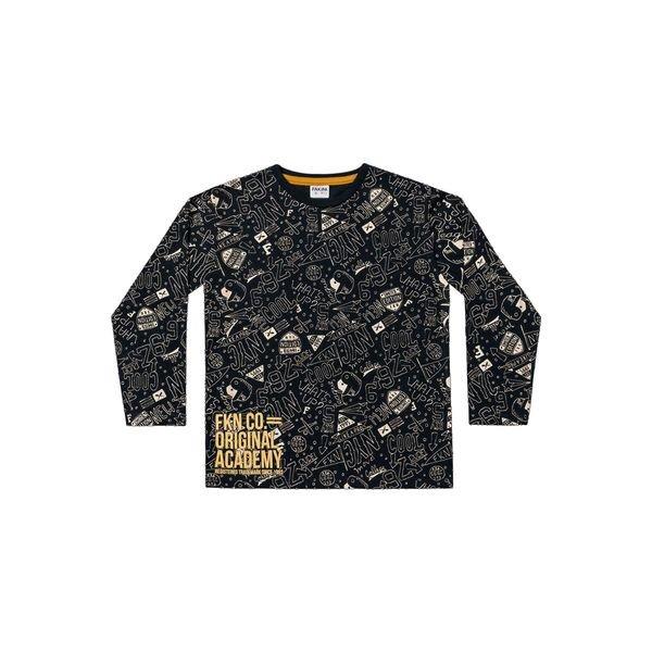 camiseta manga longa infantil masculina academy preto fakini 1250