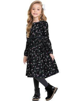 vestido manga longa infantil feminino flores preto fakini 1100 1