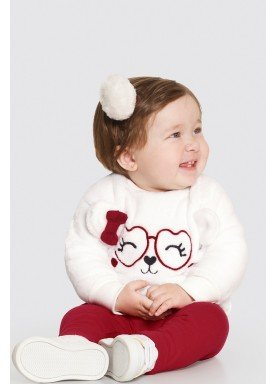 conjunto pelo bebe feminino gatinha offwhite alakazoo 62564 1