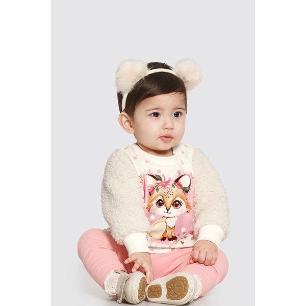 conjunto pelo bebe feminino raposinha offwhite alakazoo 62563 1
