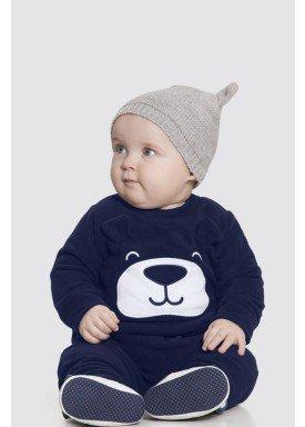conjunto manga longa bebe masculino ursinho marinho alakazoo 62567