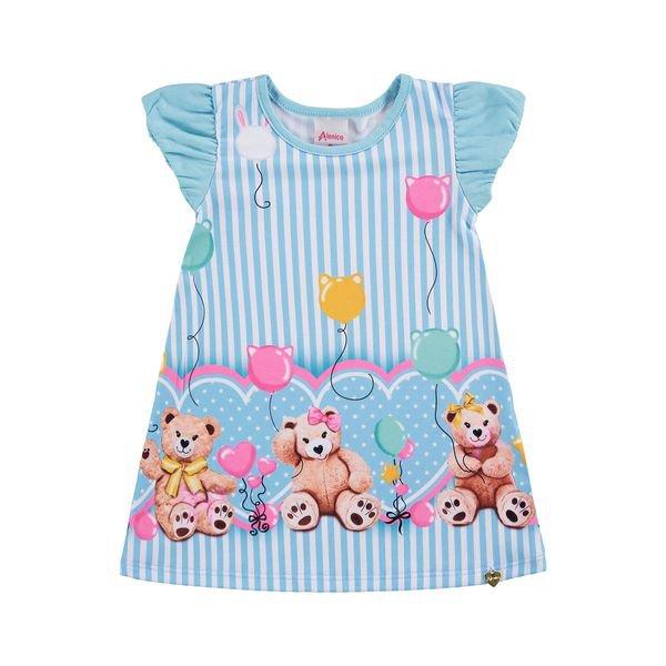 vestido bebe feminino ursinho azul alenice 41203