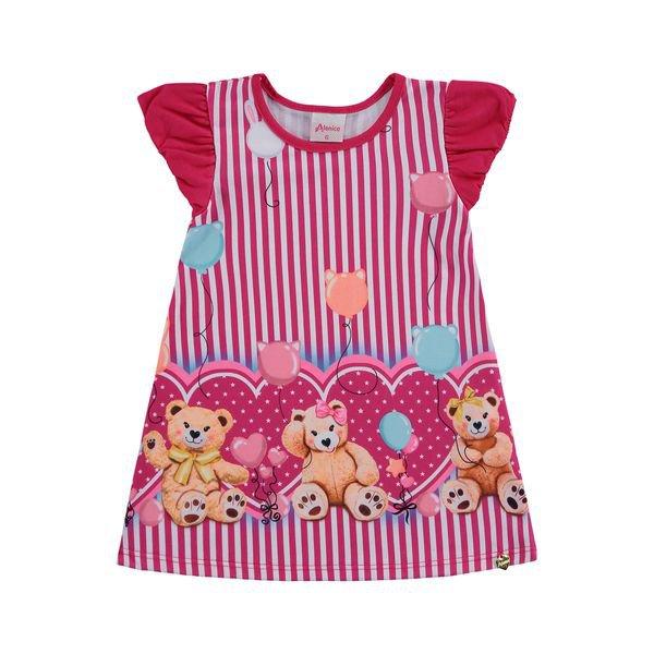 vestido bebe feminino ursinho pink alenice 41203