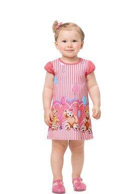 vestido bebe feminino ursinho rosa alenice 41203 1
