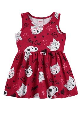 vestido bebe infantil feminino stay cool vermelho alenice 41201