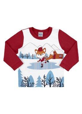 camiseta manga longa bebe masculina patinacao vermelho alenice 41123
