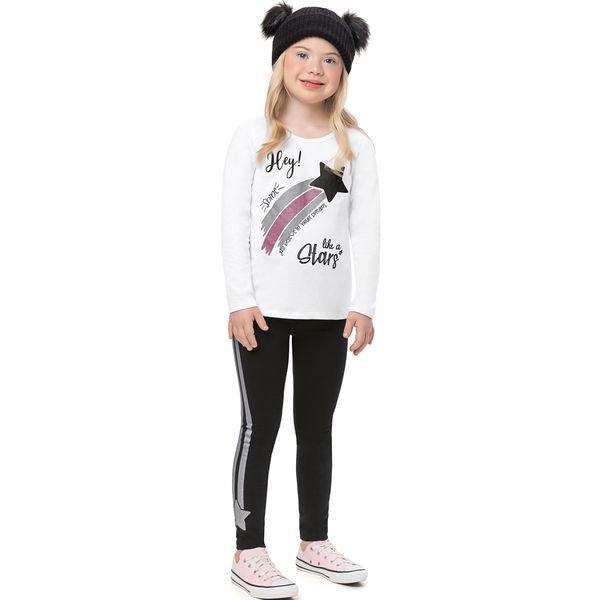 conjunto manga longa infantil feminino stars branco alenice 47176 1