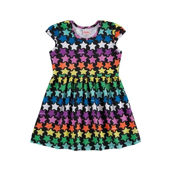 vestido infantil feminino estrelas preto alenice 44506