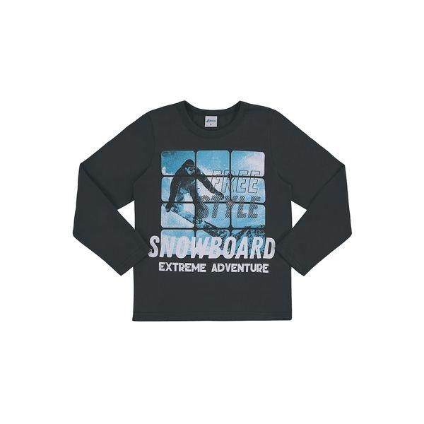 camiseta manga longa infantil masculina snowboard cinza alenice 47139