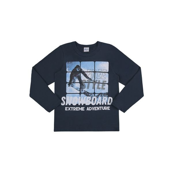camiseta manga longa infantil masculina snowboard petroleo alenice 47139