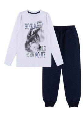 conjunto manga longa infantil masculino brooklyn branco kiiwi kids 1
