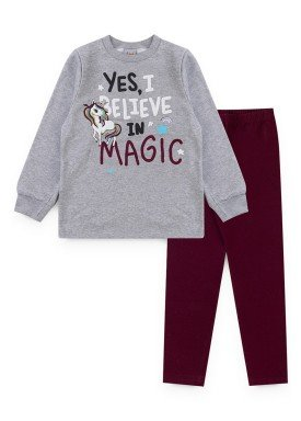 conjunto moletom infantil feminino magic mescla kiiwi kids 1