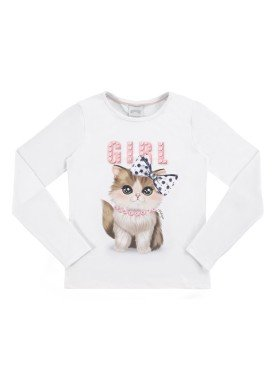 blusa manga longa infantil feminina cat branco alakazoo 61620