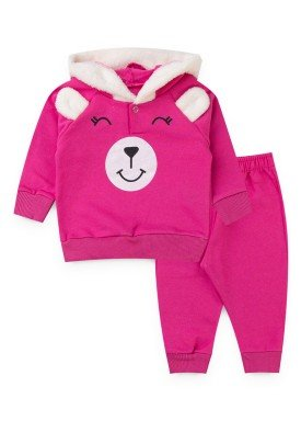 conjunto moletom bebe feminino ursinho pink kiiwi kids 1