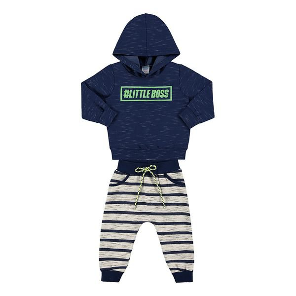 conjunto moletom bebe masculino little boss marinho marlan 20445