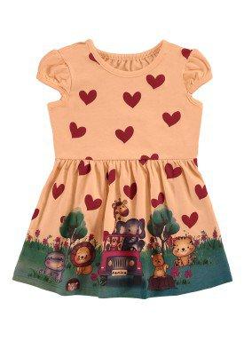 vestido bebe infantil feminino safari laranja alenice 41174