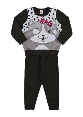 conjunto moletom bebe feminino kitty preto alenice 41166 1