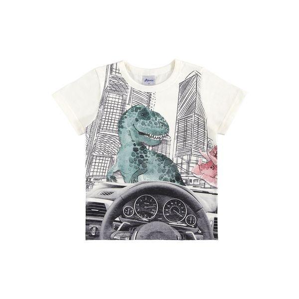 camiseta manga curta infantil masculina dinos natural alenice 44546