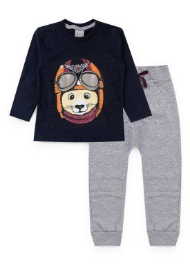 conjunto manga longa infantil masculino aviador marinho kiiwi kids 1