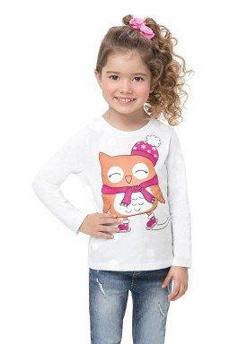 blusa manga longa infantil feminina corujinha branco alenice 44503 1