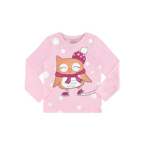 blusa manga longa infantil feminina corujinha rosa alenice 44503