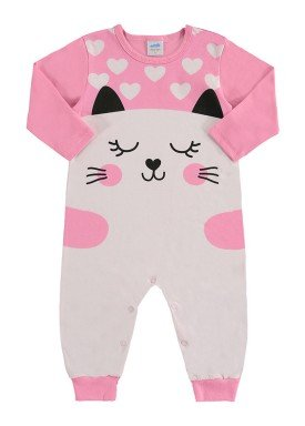 macacao longo bebe feminino gatinha rosa marlan 20477