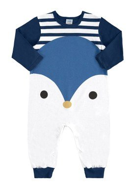 macacao longo bebe unissex pinguim marinho marlan 20477