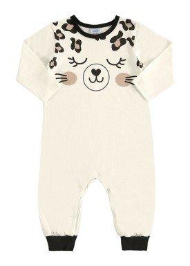 macacao longo bebe unissex oncinha marfim marlan 20477