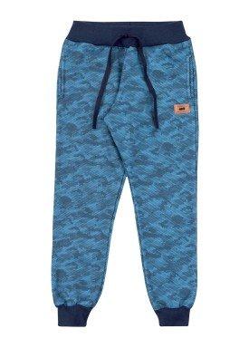 calca moletom infantil masculina estampada azul marlan 24704