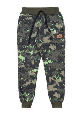 calca moletom infantil masculina estampada verde marlan 24704