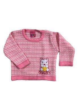 sueter trico bebe feminino rosa remyro 1018