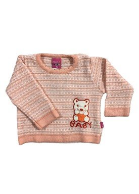 sueter trico bebe feminino salmao remyro 1018