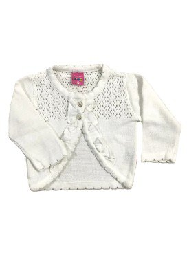 cardiga trico bebe feminino branco remyro 1016