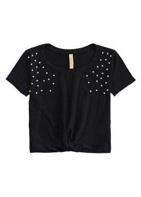 blusa malha canelada juvenil feminina preto lunender hits 46756