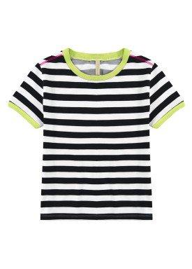 blusa meia malha juvenil feminina listrada preto lunender hits 46790