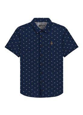 camisa meia malha estampada juvenil marinho fico 48601
