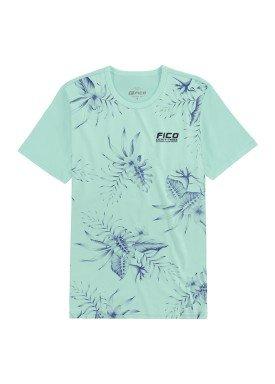 camiseta meia malha estampada juvenil masculina verde fico 48589