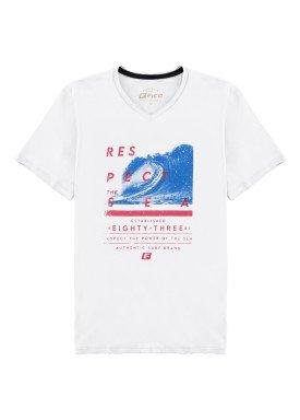 camiseta meia malha juvenil masculina respect branco fico 48593