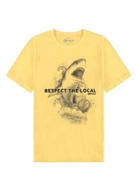 camiseta meia malha juvenil masculina shark amarelo fico 48594