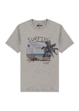 camiseta meia malha juvenil masculina surfing mescla fico 48611