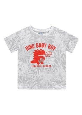 camiseta meia malha bebe masculino dino baby branco fakini 2212