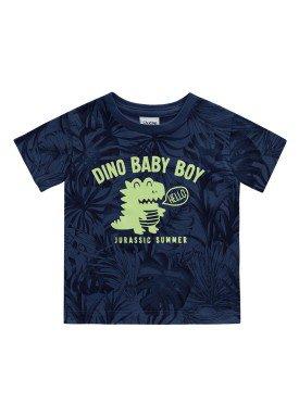 camiseta meia malha bebe masculino dino baby marinho fakini 2212