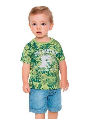 camiseta meia malha bebe masculino dino baby verde fakini 2212 1