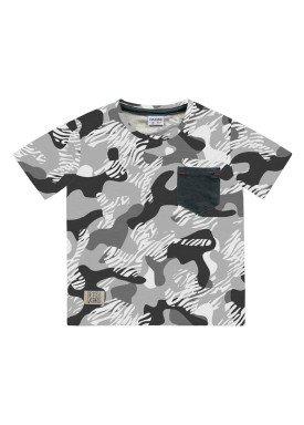 camiseta meia malha infantil masculina camuflada cinza fakini 2230
