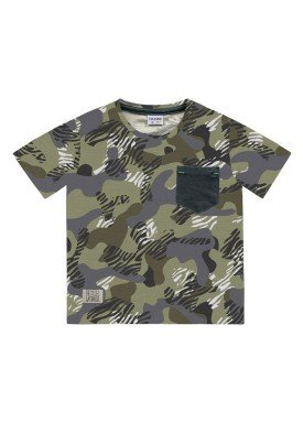 camiseta meia malha infantil masculina camuflada verde fakini 2230