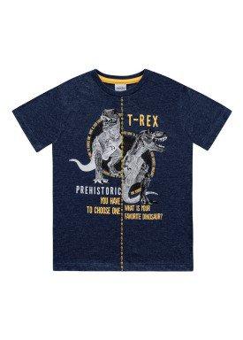 camiseta meia malha infantil masculina trex marinho fakini 2269