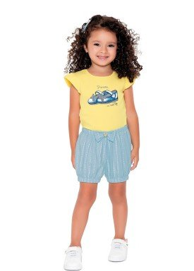 conjunto blusa e short infantil feminino princess amarelo fakini 2501 1