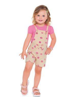 conjunto blusa macacao infantil feminino bolinhas rosa fakini 2507 1