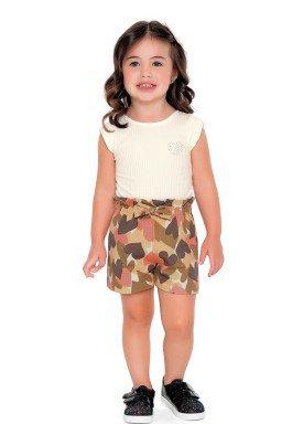 conjunto body e short infantil feminino love marfim fakini 2504 1